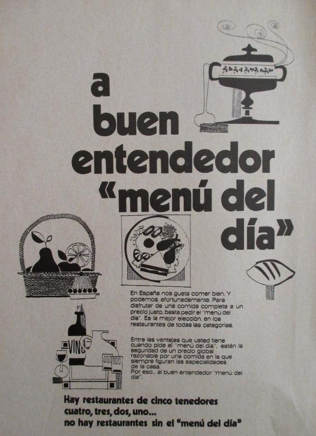 advertising on the menu of the day in Spain in the 70s