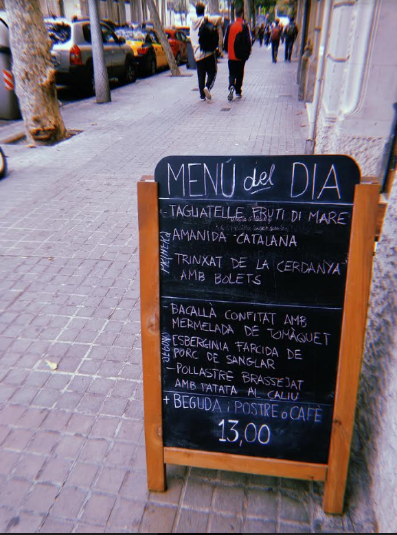 menu of the day in eixample barcelona